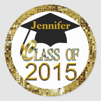 Class Of 2015 Sparkling Gold Graduation Seals Round Sticker