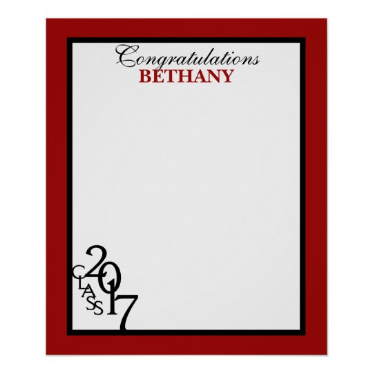 Class of 20167 Graduation Autograph Keepsake Red Poster