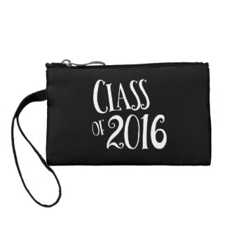 Class of 2016 Black and White Vintage Handwriting Coin Wallet