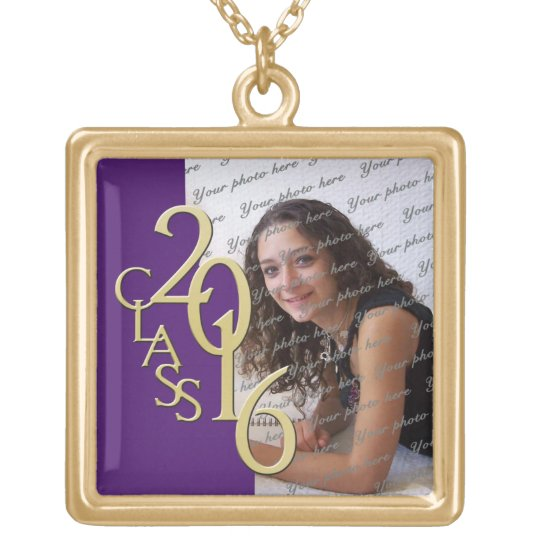 Class of 2016 Grad Photo Purple and Gold Gold Plated Necklace