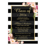 Class of 2016 Graduation Classy Floral Stripes 13 Cm X 18 Cm Invitation Card