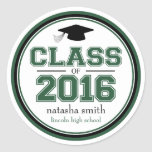 Class Of 2016 Graduation Favour (Emerald / Black) Round Sticker