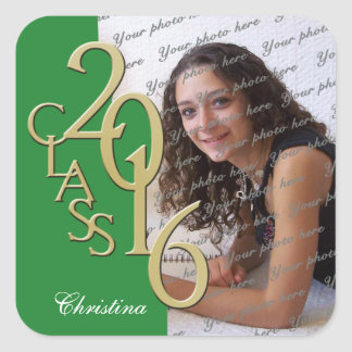 Class of 2016 Green and Gold Graduation Square Sticker