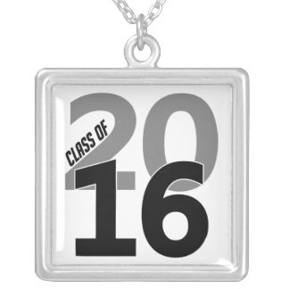 Class of 2016 necklace, customizable silver plated necklace