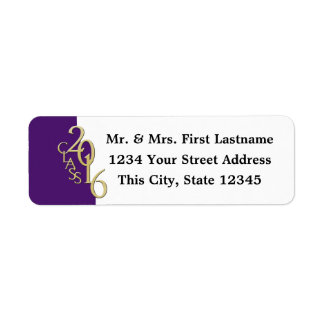 Class of 2016 Purple Gold Graduation Return Address Label