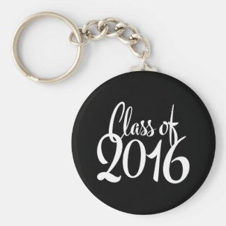 Class of 2016 Retro Typography Graduation Basic Round Button Key Ring