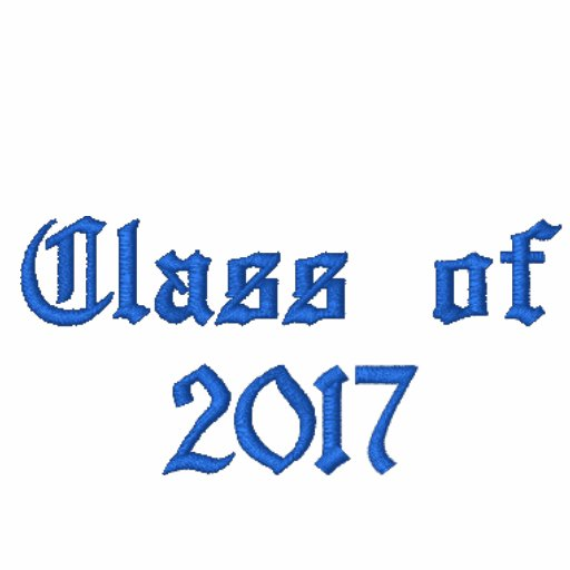 Class of 2017 - Black and Blue Embroidered Hoodie