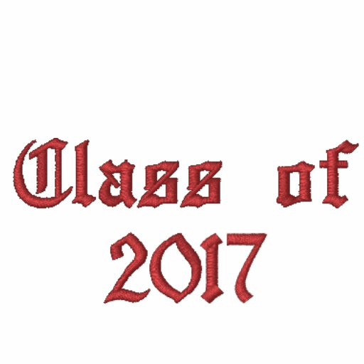 Class of 2017 - Black and Red Embroidered Hooded Sweatshirt