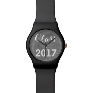 Class of 2017 Black White Chalkboard Typography Wrist Watches