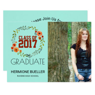 Class of 2017 Boho Floral | Photo Graduation Party Card