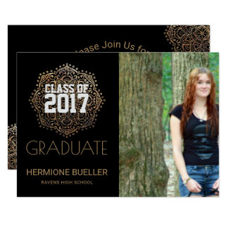 Class of 2017 Boho Mandala   Photo Graduation Card