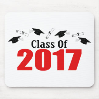 Class Of 2017 Caps And Diplomas (Red) Mouse Mat