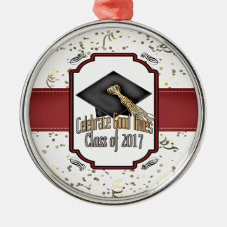 Class of 2017 Celebrate Good Times Graduation Gift Silver-Colored Round Decoration