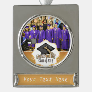 Class of 2017 Celebrate Good Times Graduation Gift Silver Plated Banner Ornament