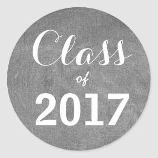 Class of 2017 Chalkboard Typography Black White Classic Round Sticker