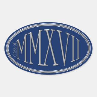 Class of 2017 Classic Roman Numerals Silver Oval Sticker