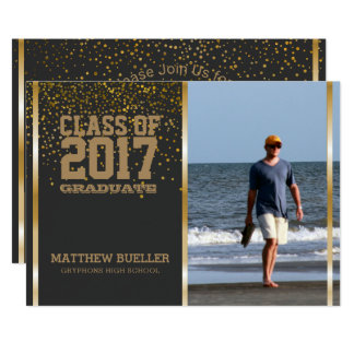 Class of 2017 Confetti | Photo Graduation Party Card