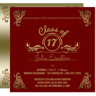 Class of 2017 | Elegant Gold Red Graduation Party Card