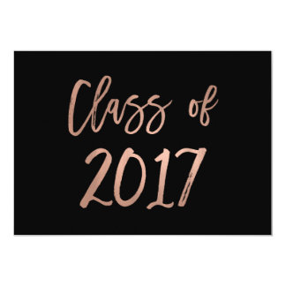 Class of 2017 | Faux Rose Gold Look on Black Card