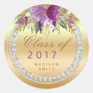 Class of 2017 Flowers Diamonds Gold Graduation Classic Round Sticker
