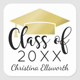 Class of 2017 | Gold Cap Graduation Square Sticker