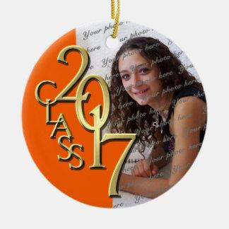 Class of 2017 Graduate Photo Orange Christmas Ornament