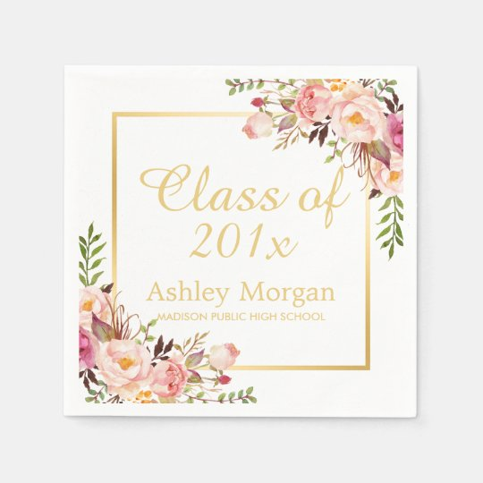 Class of 2017 Graduation Elegant Gold Chic Floral
