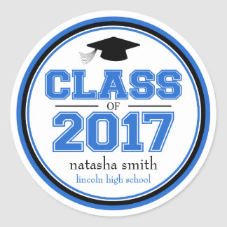 Class Of 2017 Graduation Favor (Blue / Black) Classic Round Sticker