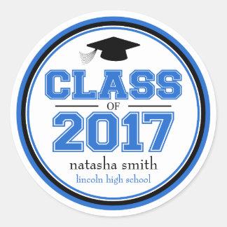 Class Of 2017 Graduation Favor (Blue / Black) Round Sticker