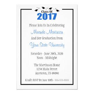 Class Of 2017 Graduation Invitation (Blue Caps)
