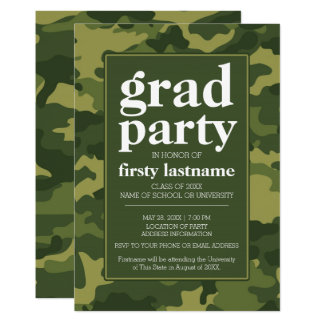 Class of 2017 Graduation Party green camo Card