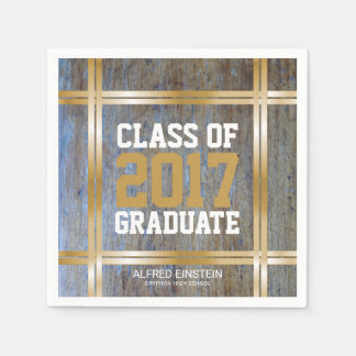 Class of 2017 Graduation Party   Rustic Wood Gold Disposable Napkin