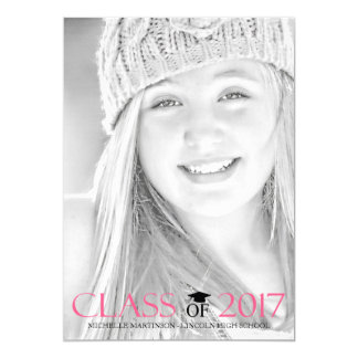 Class Of 2017 Graduation Photo Announcement (Pink)
