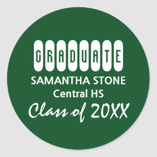 Class of 2017 Green White Graduation Envelope Seal