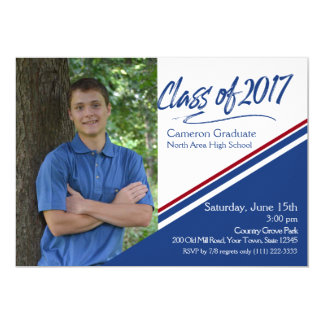 Class of 2017 Hand Script Blue and Red Photo Card