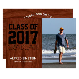 Class of 2017 Mahogany | Photo Graduation Party Card