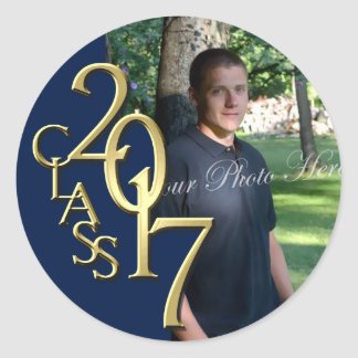 Class of 2017 Midnight Blue and Gold Graduation Classic Round Sticker