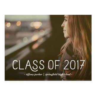 Class of 2017 | Modern Typography Photo Grad Party Postcard