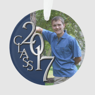Class of 2017 Navy Blue and Silver Graduate Photo Ornament
