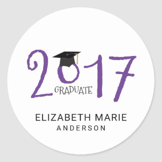 Class of 2017, Purple and Black Personalized Classic Round Sticker