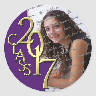 Class of 2017 Purple and Gold Graduation Photo Classic Round Sticker