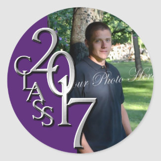 Class of 2017 Purple and Silver Graduation Photo Classic Round Sticker