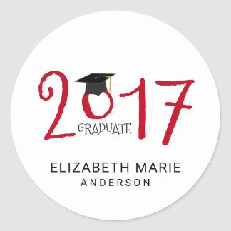 Class of 2017, Red and Black Personalized Classic Round Sticker