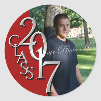 Class of 2017 Red and Silver Graduation Photo Classic Round Sticker