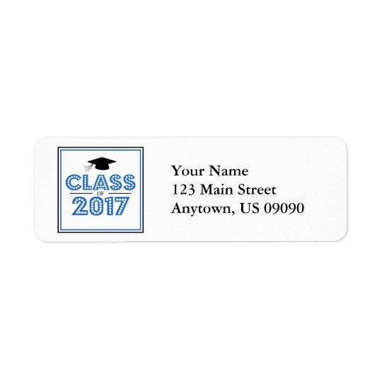 Class Of 2017 Return Address Labels (Blue / Black)