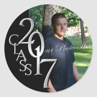 Class of 2017 Silver and Black Graduation Photo Classic Round Sticker