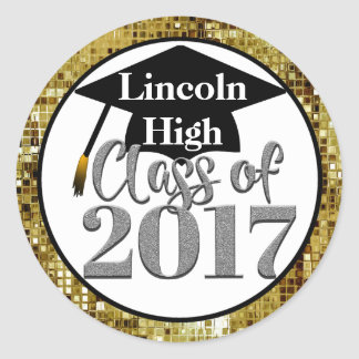 Class Of 2017 Silver And Gold Graduation Seals