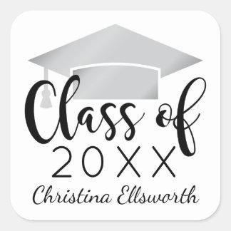Class of 2017 | Silver Cap Graduation Square Sticker
