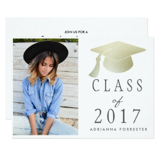 Class Of 2017 Silver Foil Graduation Hat Photo Card