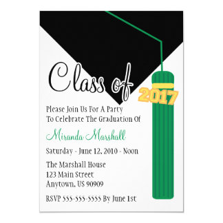 Class Of 2017 Tassel Graduation Invite (Green)